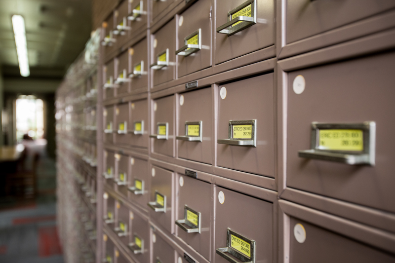 reference library cards cabinet